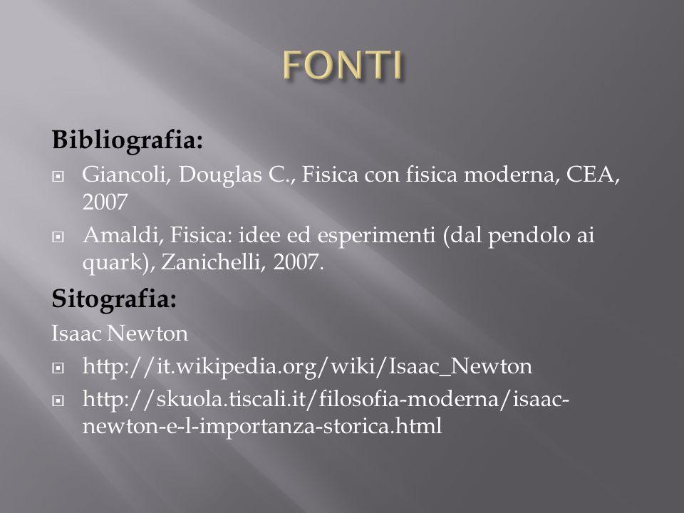 FONTI Bibliografia: Sitografia: