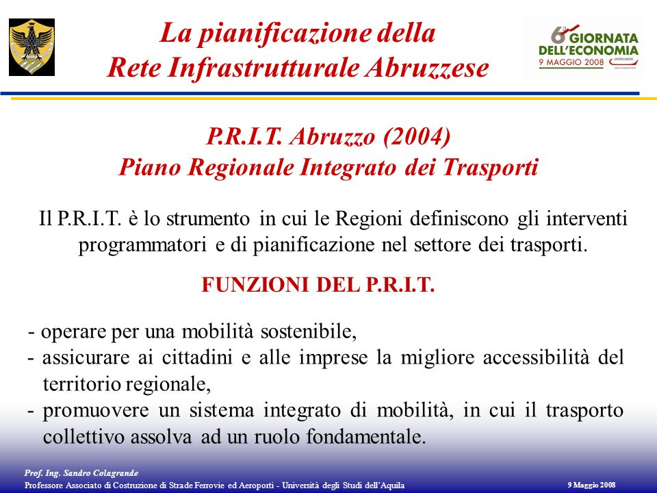 La pianificazione della Rete Infrastrutturale Abruzzese