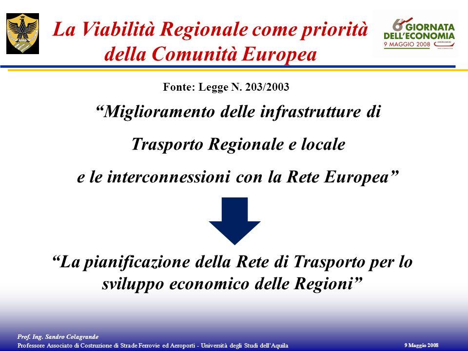 La Viabilità Regionale come priorità della Comunità Europea