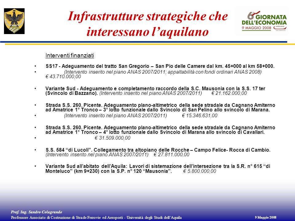 Infrastrutture strategiche che interessano l'aquilano