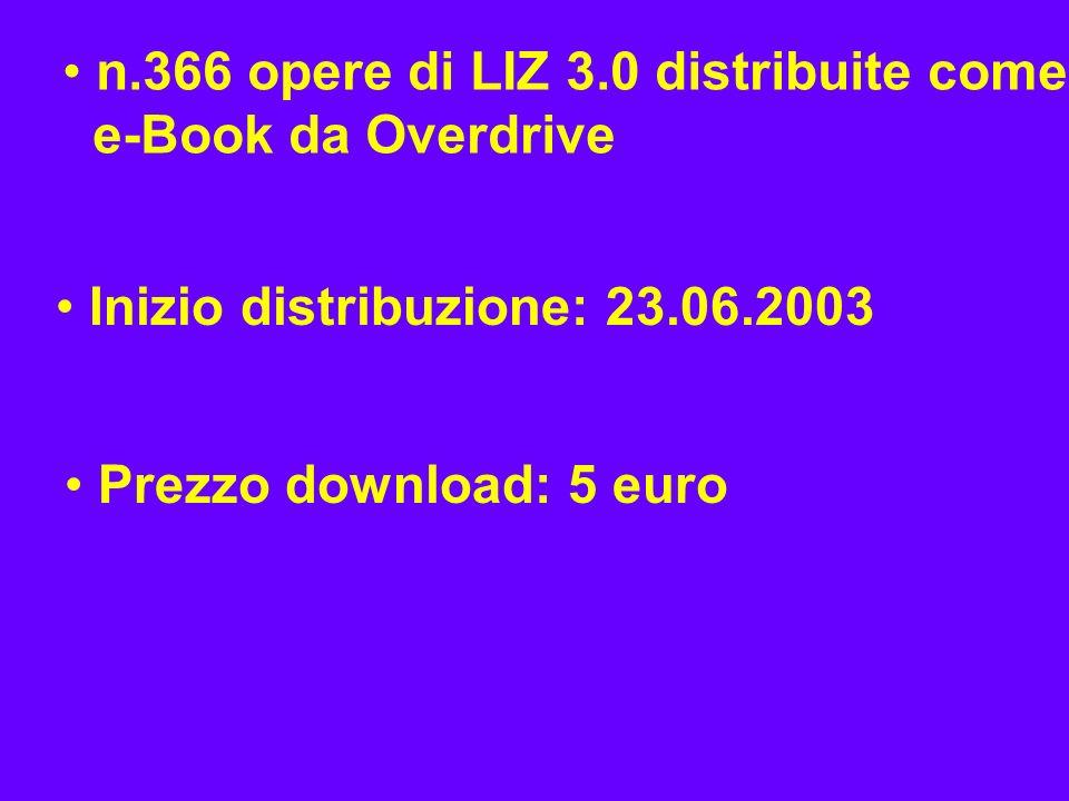 n.366 opere di LIZ 3.0 distribuite come