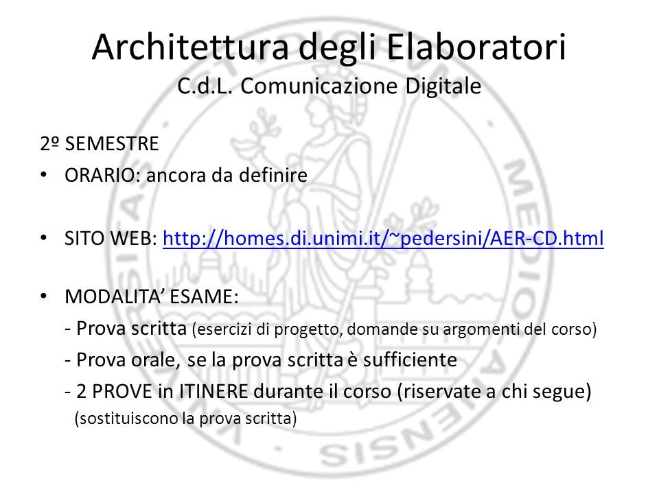 Architettura degli Elaboratori C.d.L. Comunicazione Digitale