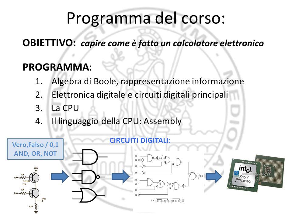 Programma del corso: OBIETTIVO: capire come è fatto un calcolatore elettronico. PROGRAMMA: Algebra di Boole, rappresentazione informazione.