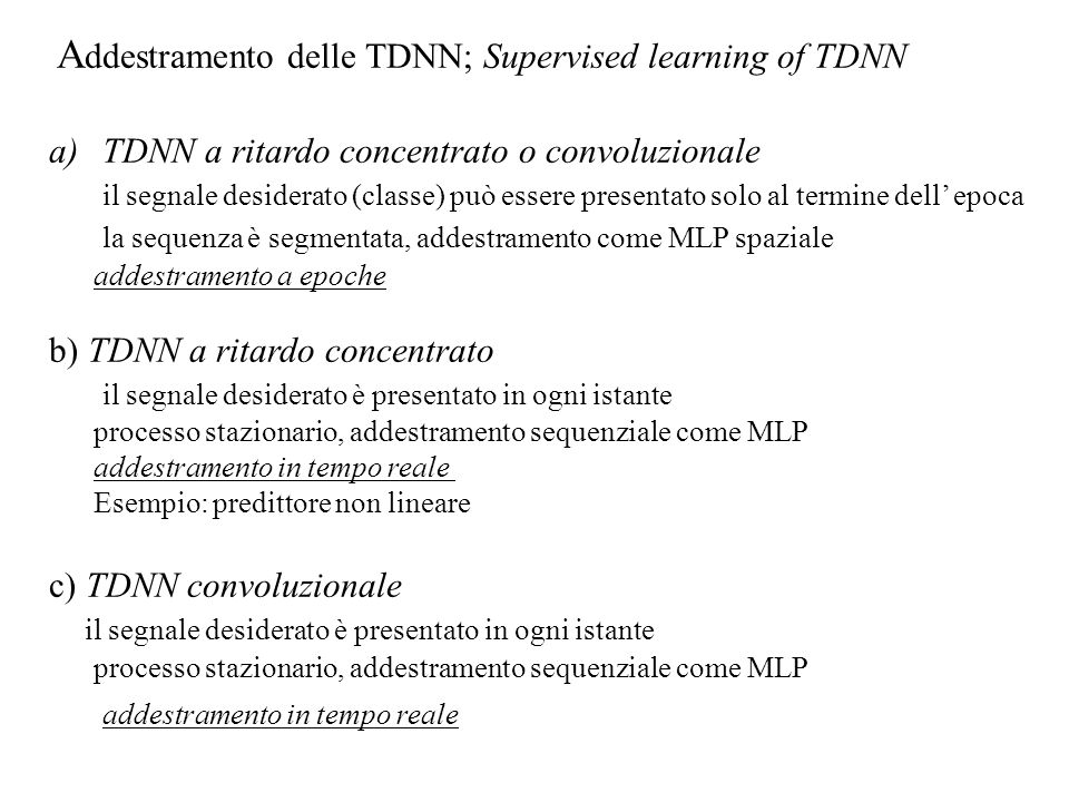 Addestramento delle TDNN; Supervised learning of TDNN