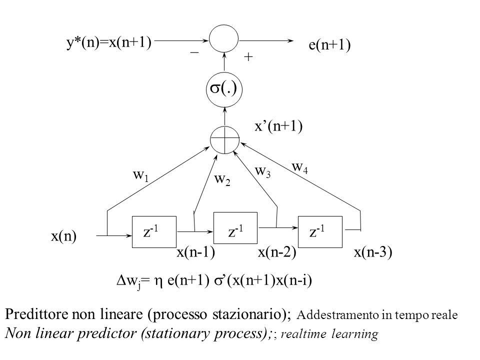 s(.) y*(n)=x(n+1) _ e(n+1) + x'(n+1) w4 w3 w1 w2 z-1 z-1 z-1 x(n)