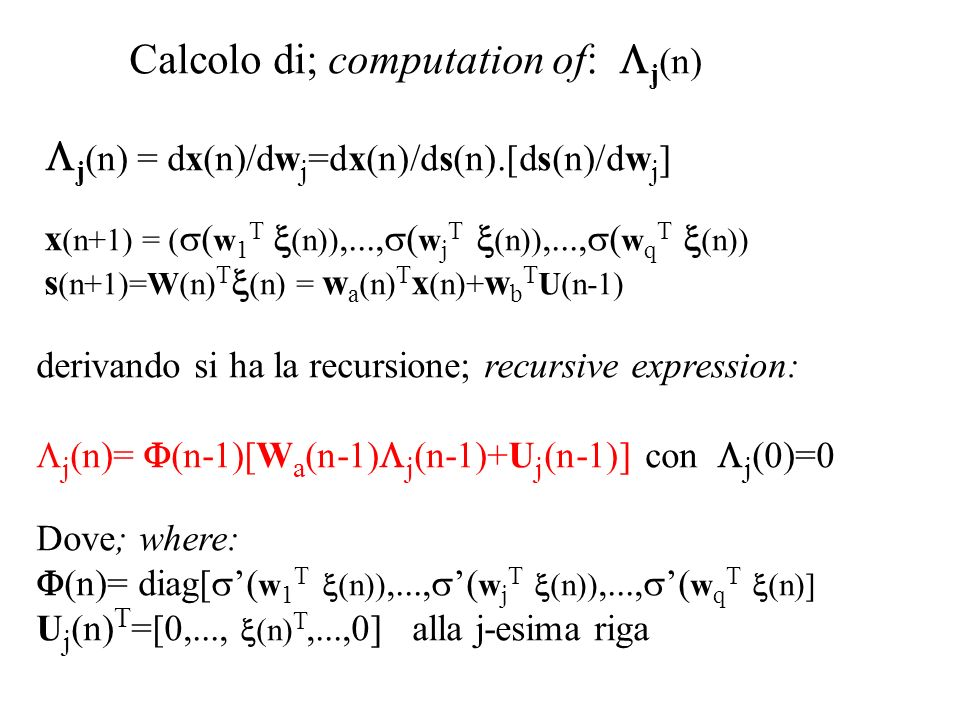 Calcolo di; computation of: Lj(n)