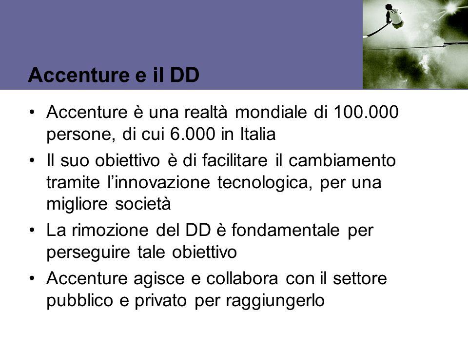 Accenture e il DD Accenture è una realtà mondiale di 100.000 persone, di cui 6.000 in Italia.