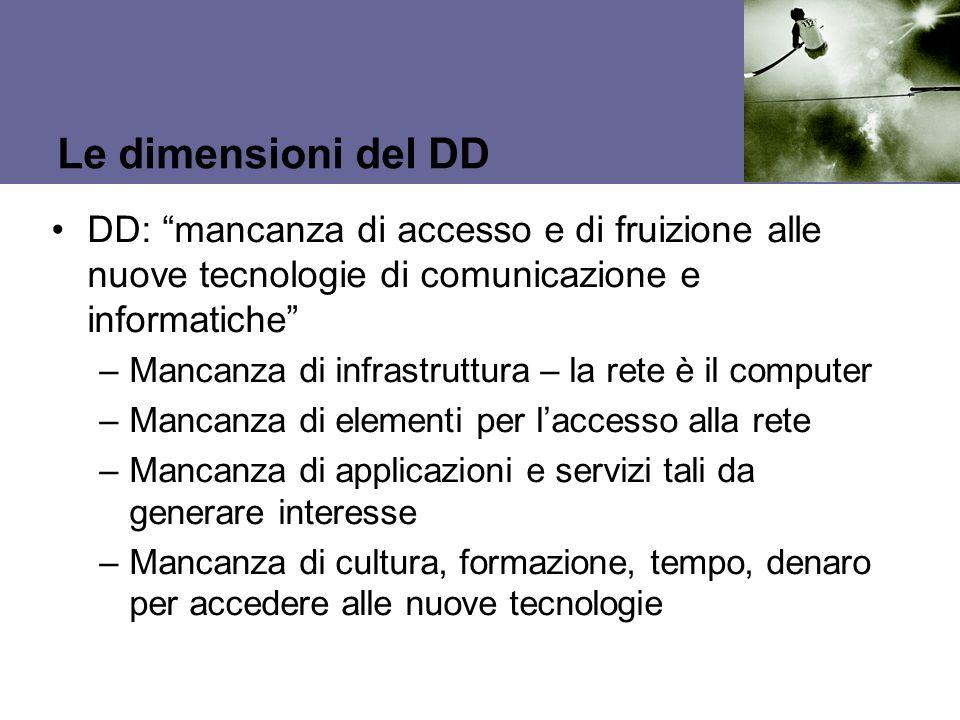 Le dimensioni del DD DD: mancanza di accesso e di fruizione alle nuove tecnologie di comunicazione e informatiche