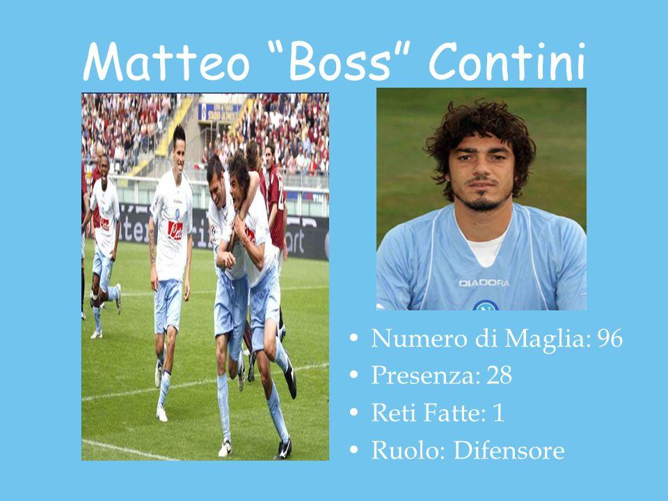 Matteo Boss Contini Numero di Maglia: 96 Presenza: 28 Reti Fatte: 1