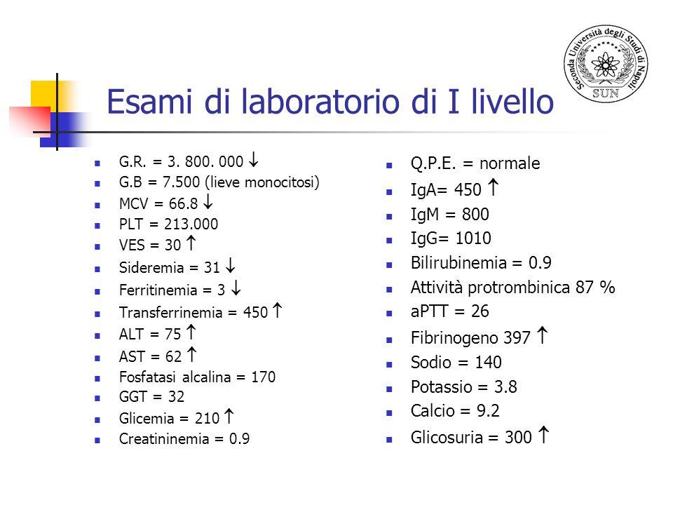 Esami di laboratorio di I livello