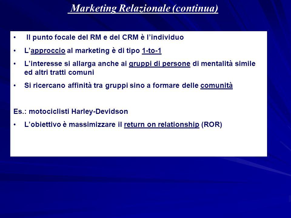 Marketing Relazionale (continua)