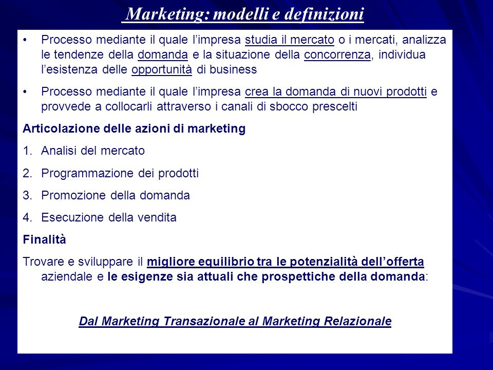 Marketing: modelli e definizioni