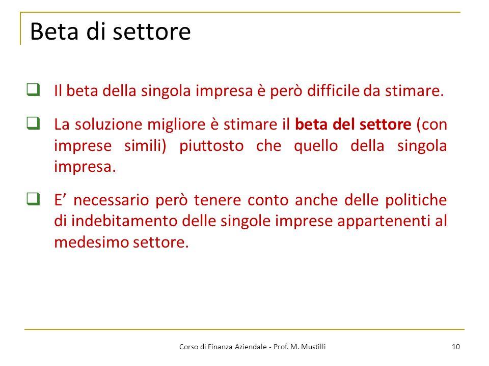 Corso di Finanza Aziendale - Prof. M. Mustilli