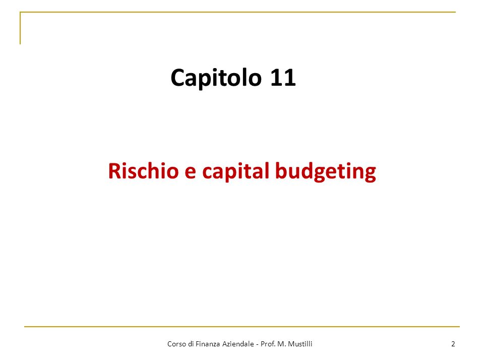 Rischio e capital budgeting
