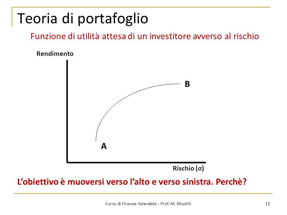 Teoria di portafoglio Funzione di utilità attesa di un investitore avverso al rischio. Rendimento.