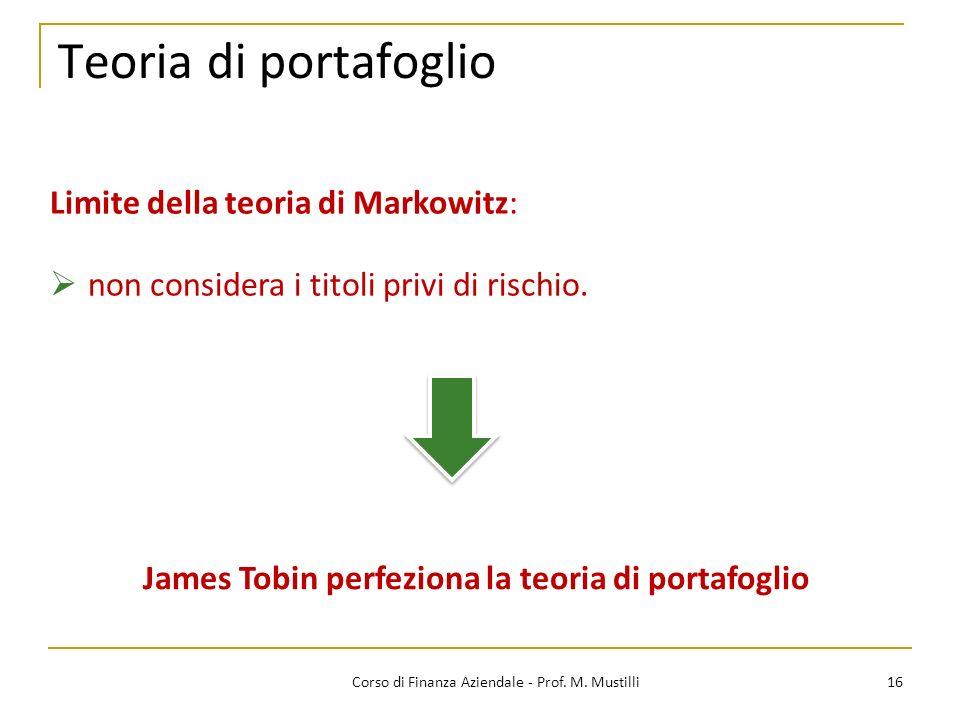 James Tobin perfeziona la teoria di portafoglio