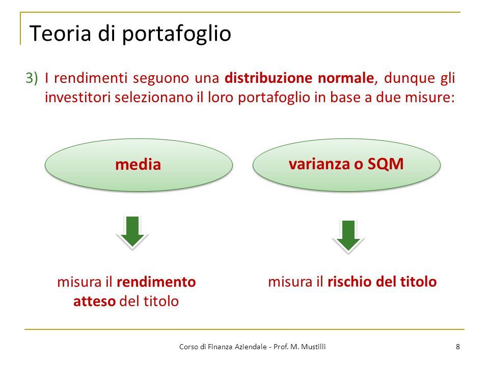 Teoria di portafoglio media varianza o SQM