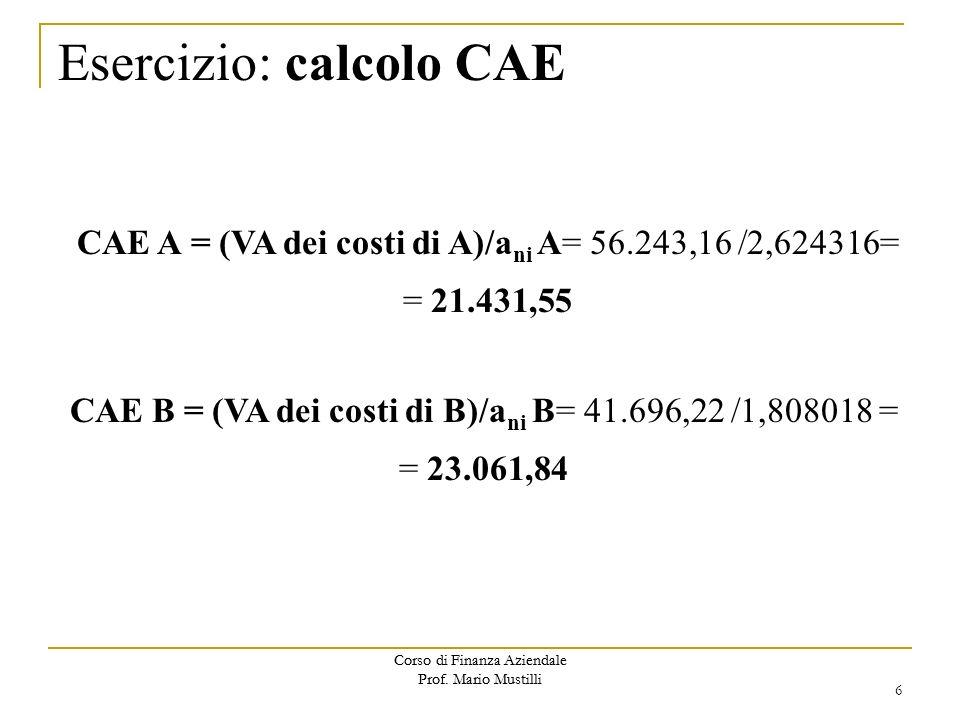 Esercizio: calcolo CAE