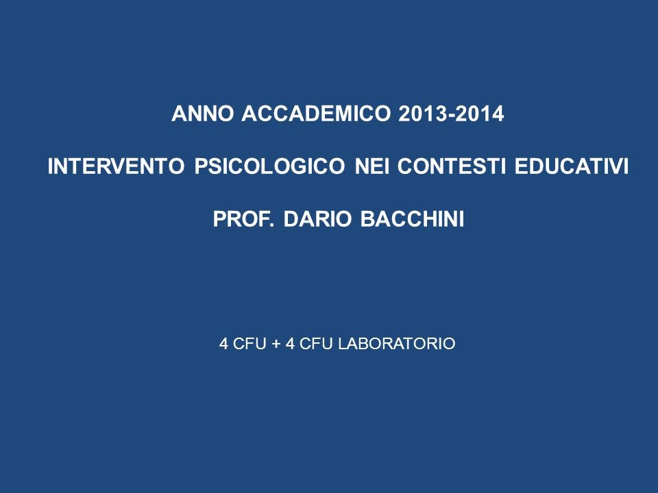 INTERVENTO PSICOLOGICO NEI CONTESTI EDUCATIVI