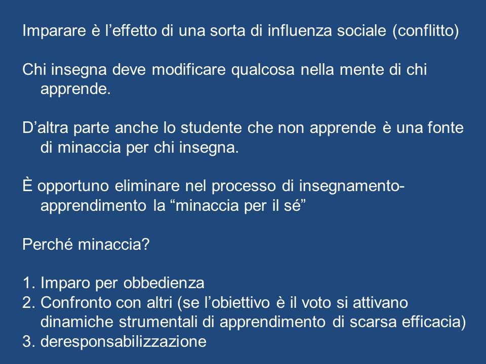 Imparare è l'effetto di una sorta di influenza sociale (conflitto)