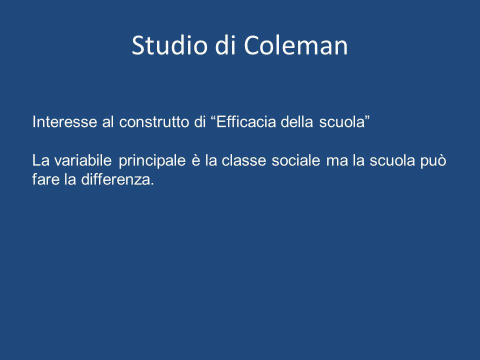 Studio di Coleman Interesse al construtto di Efficacia della scuola