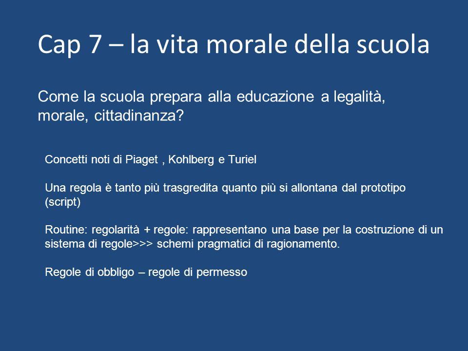 Cap 7 – la vita morale della scuola