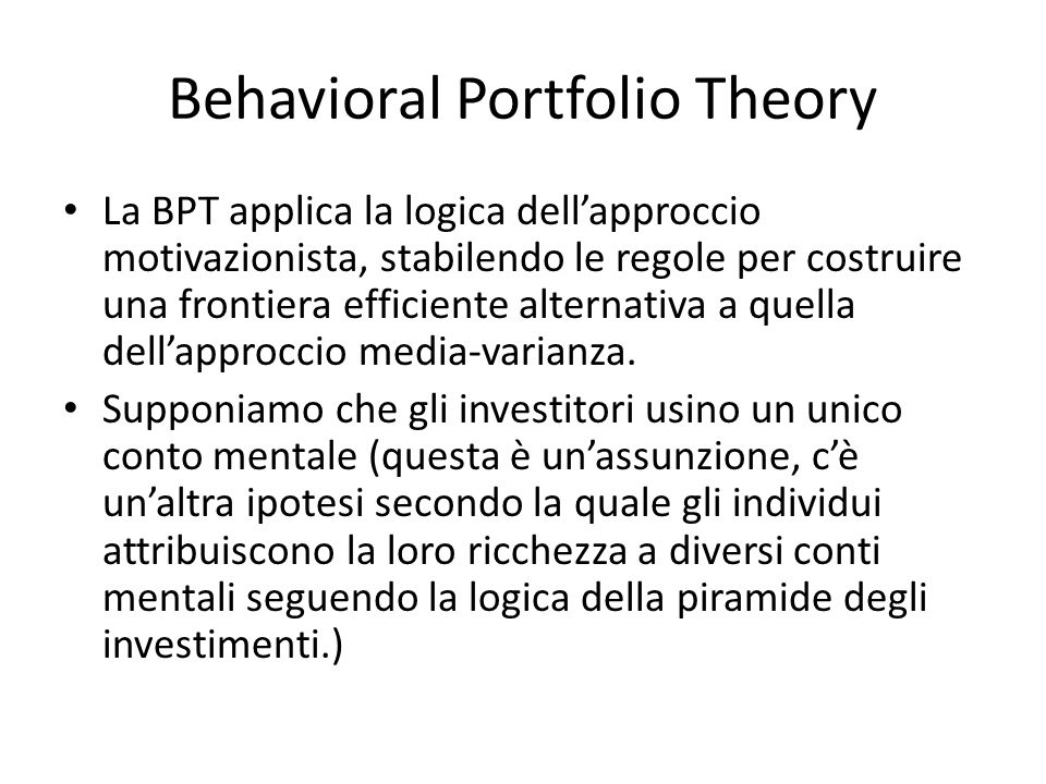 Behavioral Portfolio Theory