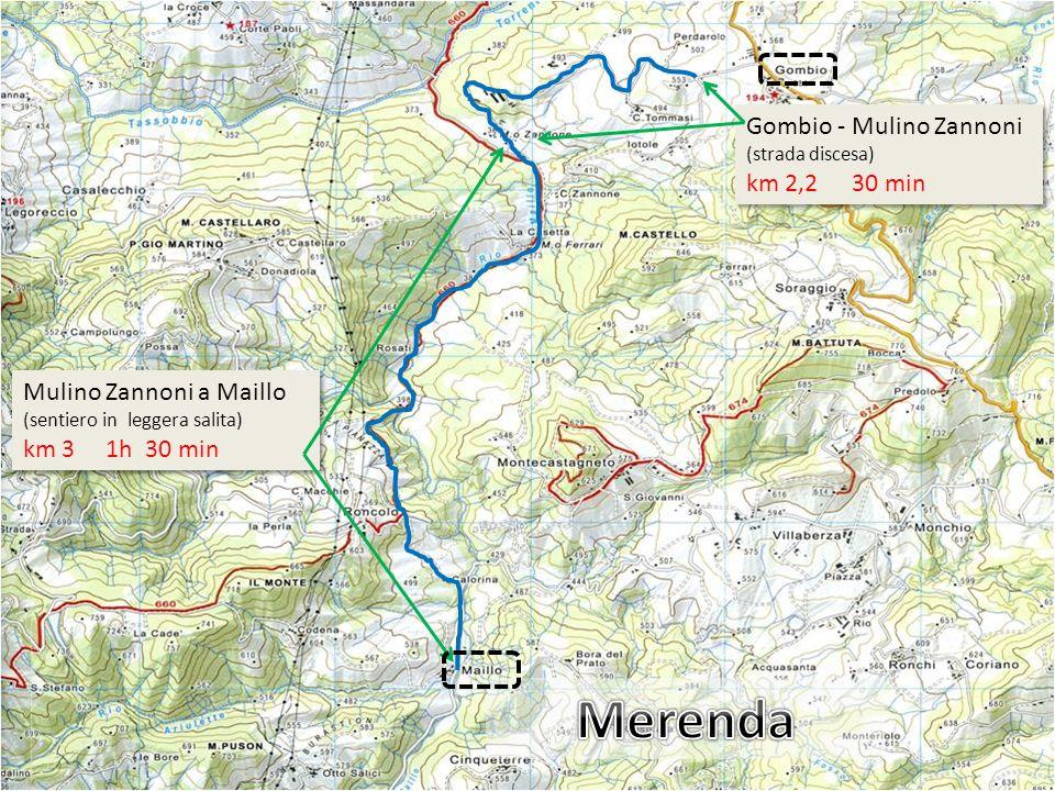 Merenda Gombio - Mulino Zannoni (strada discesa) km 2,2 30 min