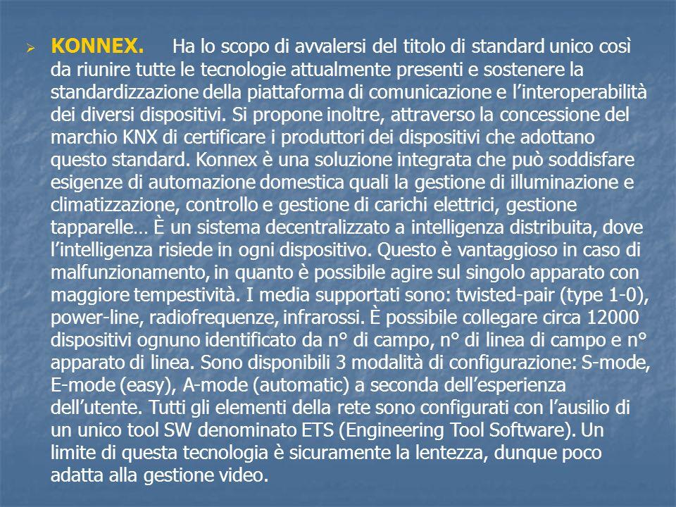 KONNEX. Ha lo scopo di avvalersi del titolo di standard unico così da riunire tutte le tecnologie attualmente presenti e sostenere la standardizzazione della piattaforma di comunicazione e l'interoperabilità dei diversi dispositivi.