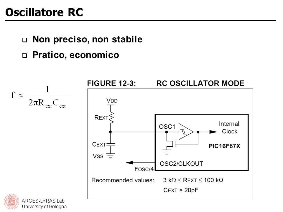Oscillatore RC Non preciso, non stabile Pratico, economico