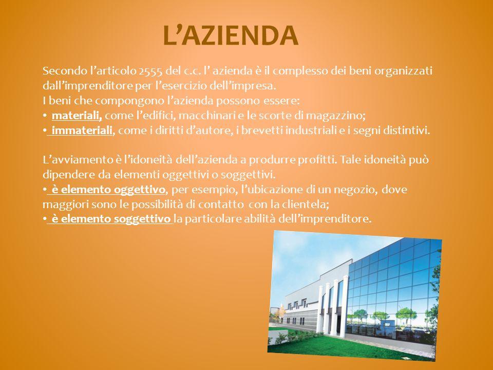 L'AZIENDA Secondo l'articolo 2555 del c.c. l' azienda è il complesso dei beni organizzati dall'imprenditore per l'esercizio dell'impresa.