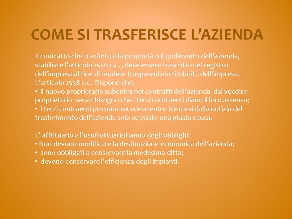 COME SI TRASFERISCE L'AZIENDA