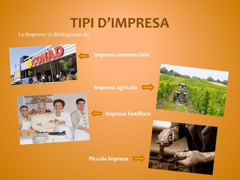 TIPI D'IMPRESA Le imprese si distinguono in: Impresa commerciale