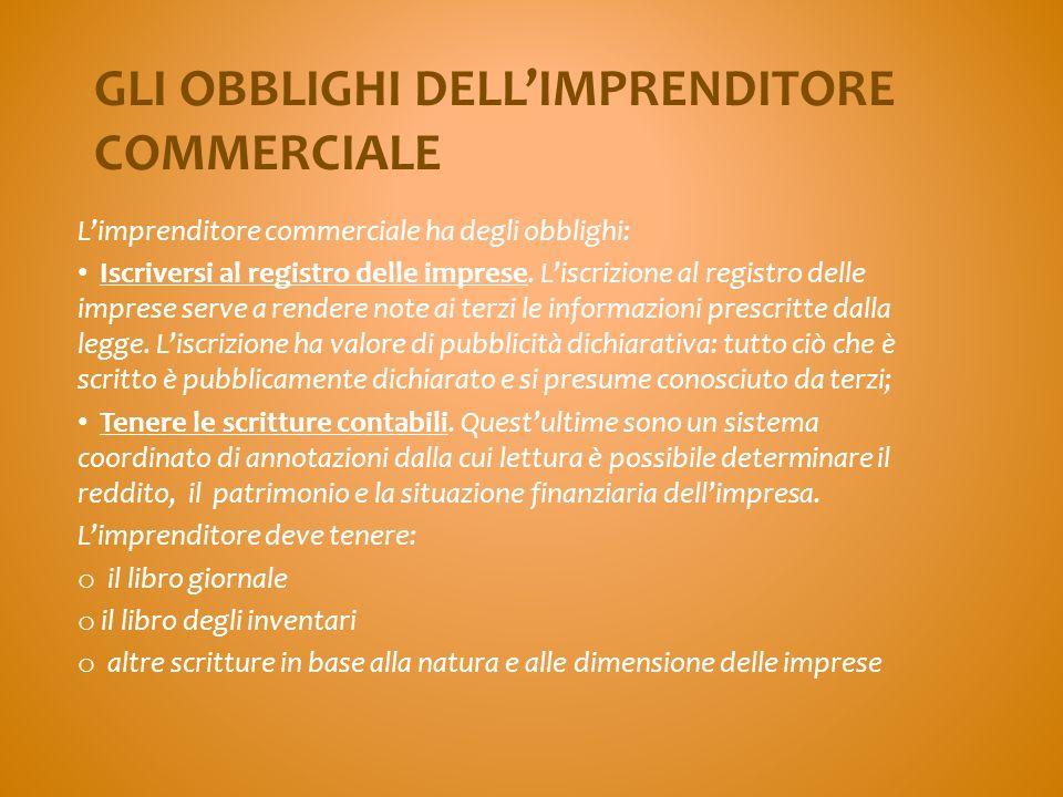GLI OBBLIGHI DELL'IMPRENDITORE COMMERCIALE