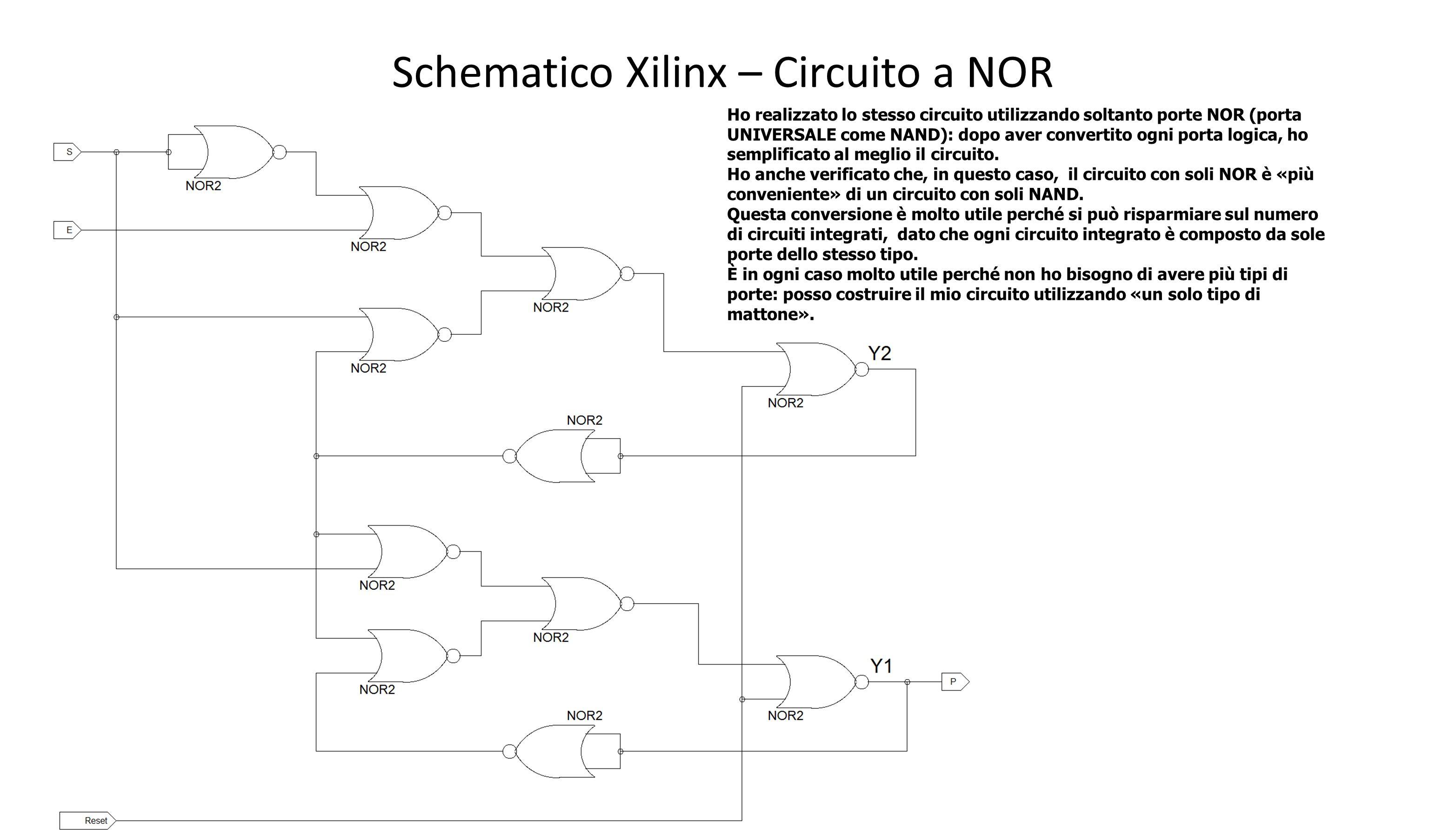 Schematico Xilinx – Circuito a NOR