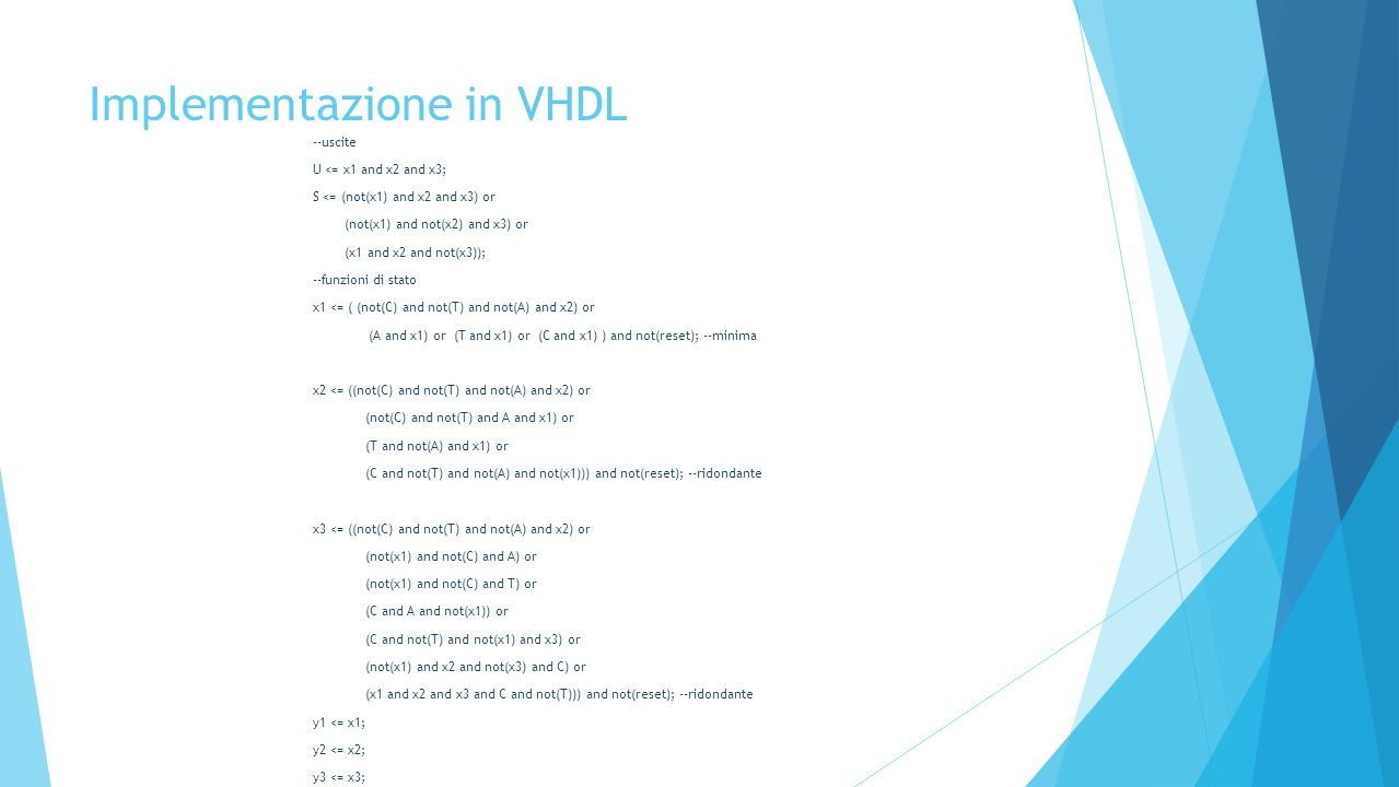 Implementazione in VHDL