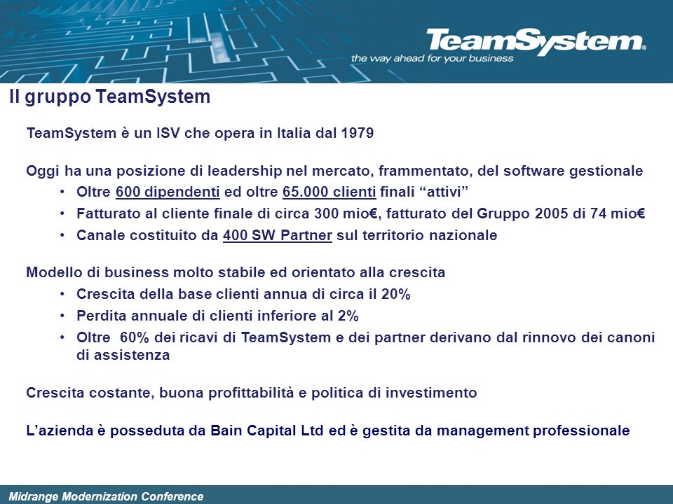 Il gruppo TeamSystem TeamSystem è un ISV che opera in Italia dal 1979