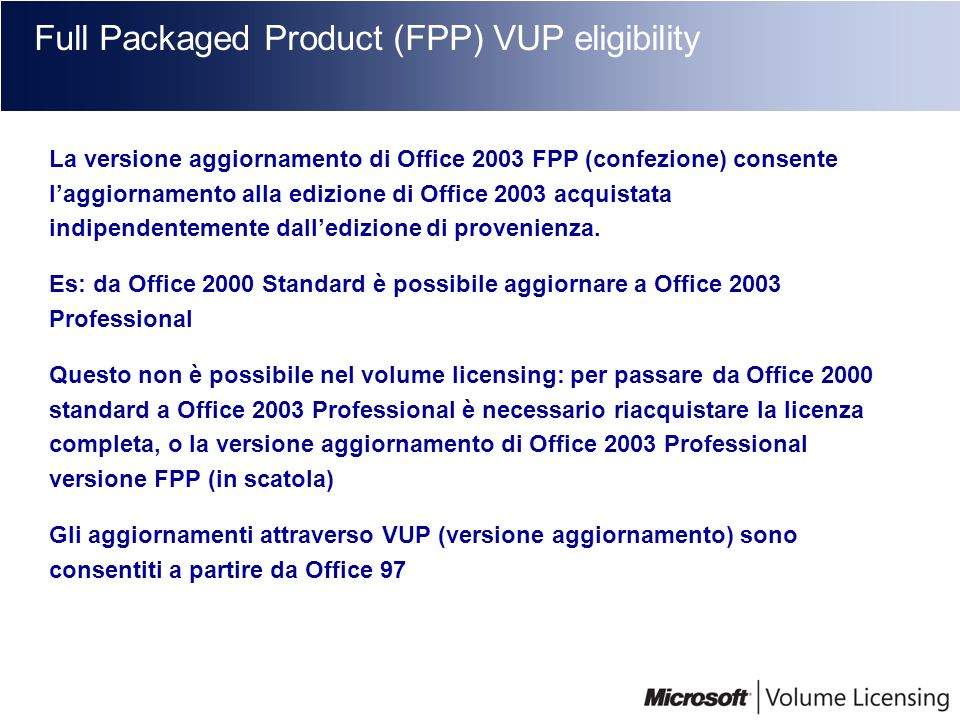 Full Packaged Product (FPP) VUP eligibility