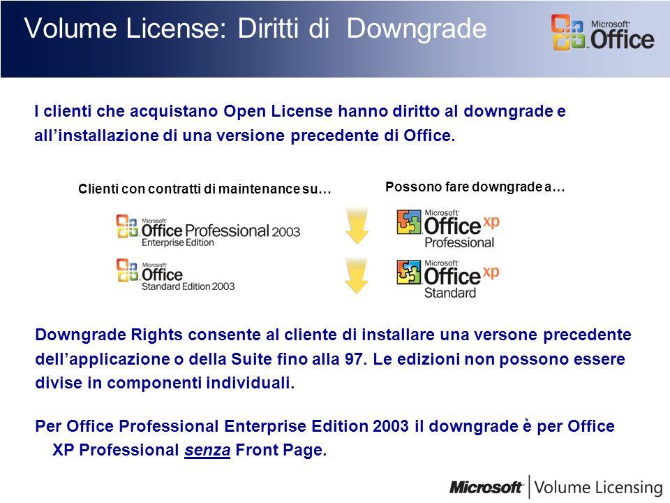 Volume License: Diritti di Downgrade