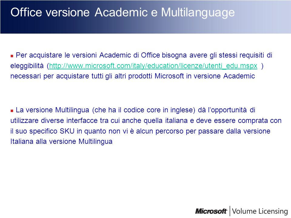 Office versione Academic e Multilanguage