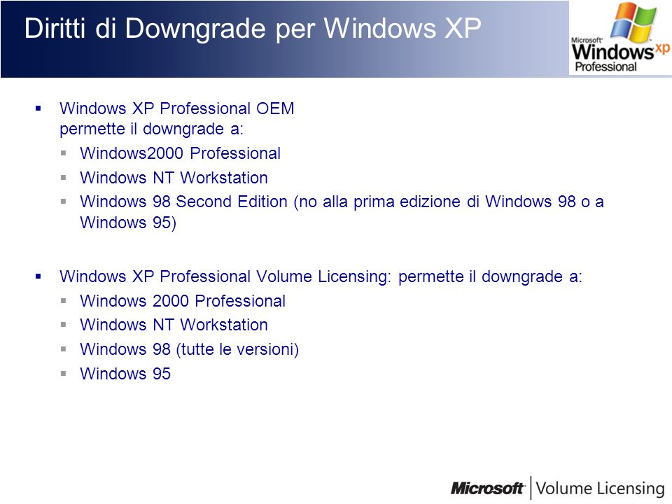 Diritti di Downgrade per Windows XP