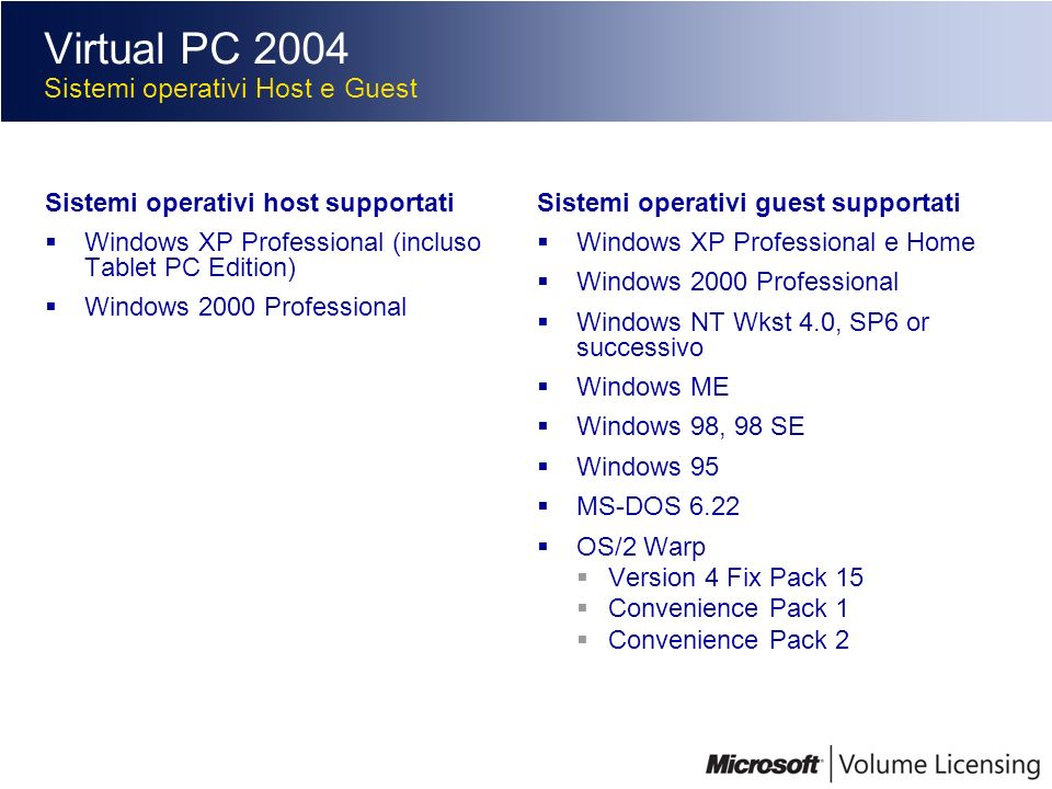 Virtual PC 2004 Sistemi operativi Host e Guest