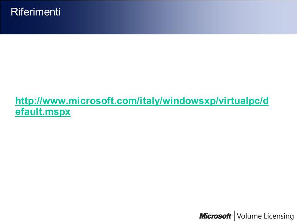 Riferimenti http://www.microsoft.com/italy/windowsxp/virtualpc/d efault.mspx