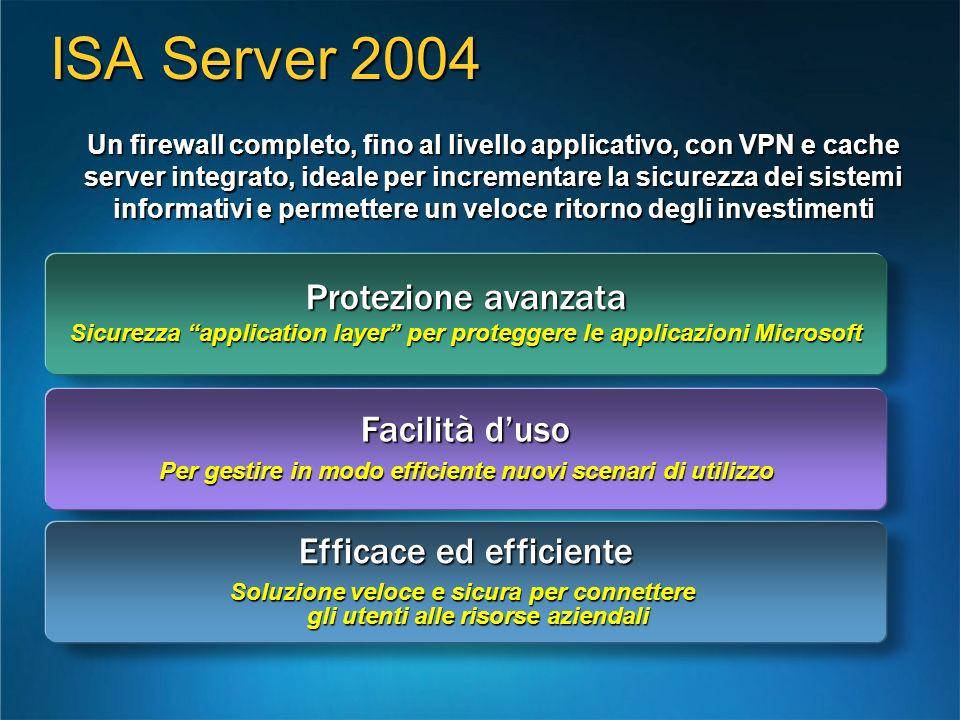 ISA Server 2004 Protezione avanzata Facilità d'uso