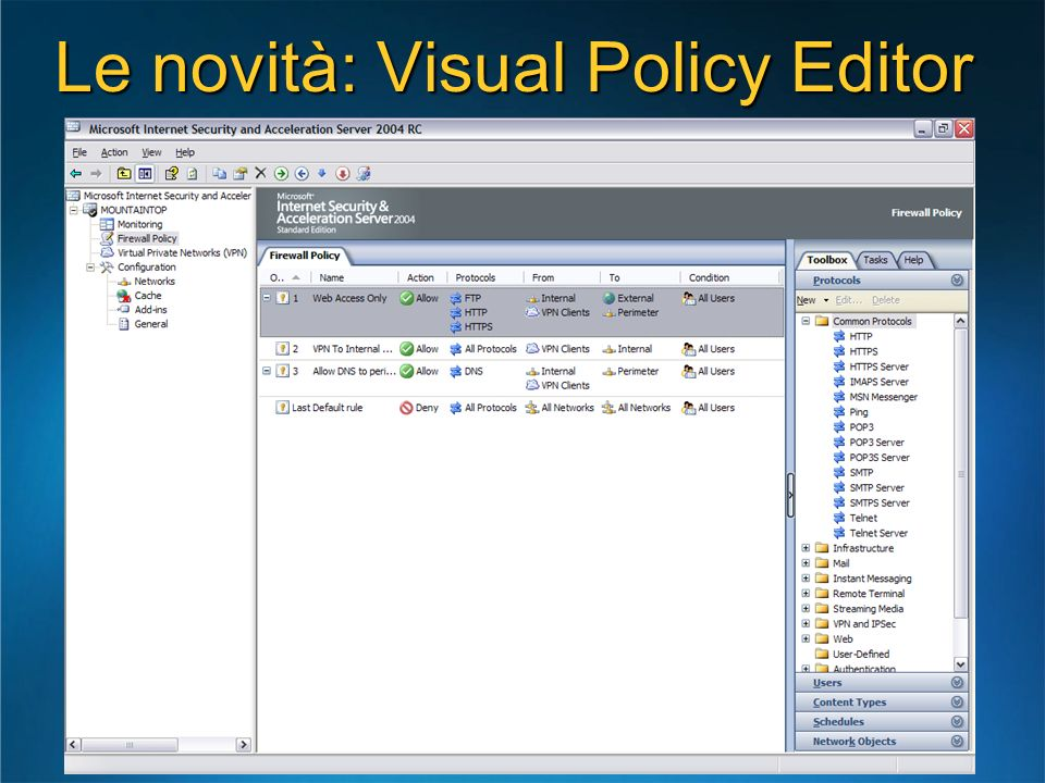 Le novità: Visual Policy Editor