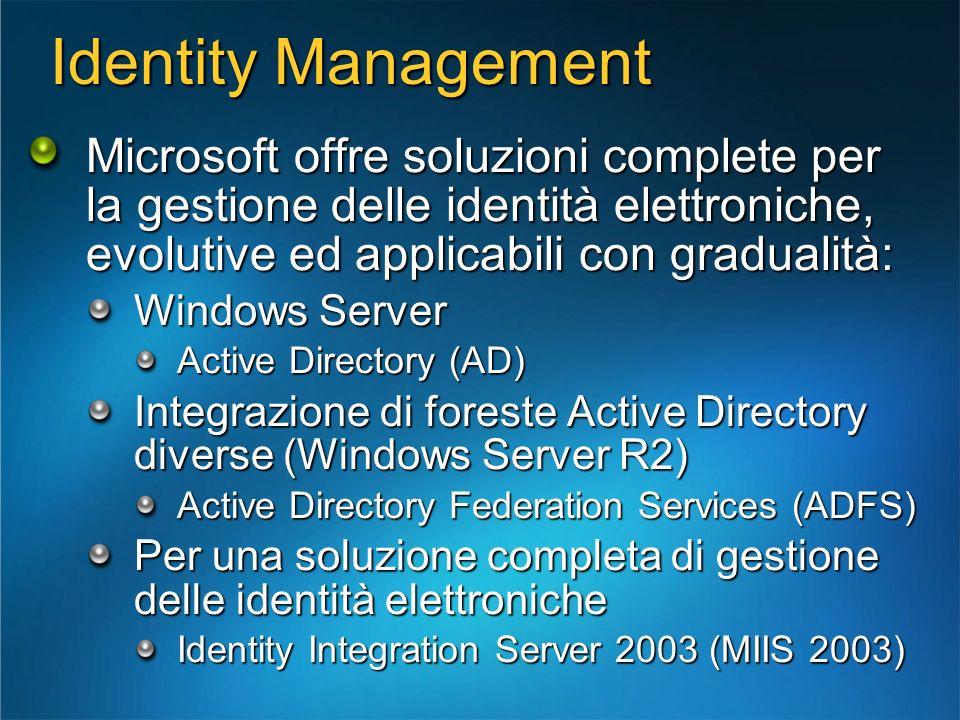 Identity Management Microsoft offre soluzioni complete per la gestione delle identità elettroniche, evolutive ed applicabili con gradualità:
