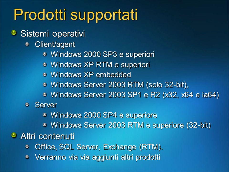 Prodotti supportati Sistemi operativi Altri contenuti Client/agent