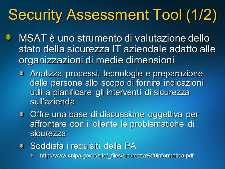 Security Assessment Tool (1/2)