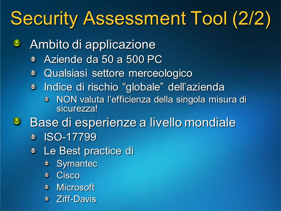Security Assessment Tool (2/2)