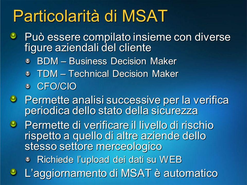 Particolarità di MSAT Può essere compilato insieme con diverse figure aziendali del cliente. BDM – Business Decision Maker.